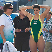 Stephanie Rice, Australia, during early morning warm up before the start of the heats at the World Swimming Championships in Rome on Thursday, July 30, 2009. Photo Tim Clayton.