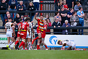Dewsbury Rams James Glover (23) celebrates after scoring the final try for Dewsbury Rams during the Kingstone Press Championship match between Dewsbury Rams and Bradford Bulls at the Tetley's Stadium, Dewsbury, United Kingdom on 4 June 2017. Photo by Simon Davies.