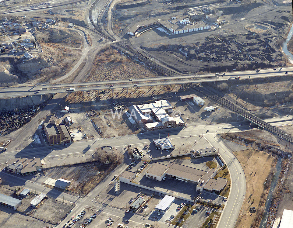 Aerial of Santa Fe Ave. Pueblo in Dec 1988.  Goat Hill, Rockwool, Patty's, rail lines, and southeast end of HARP.