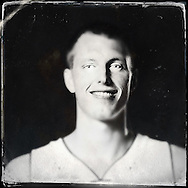 Sep 29, 2014; Auburn Hills, MI, USA;  (Editor's Note: Photo was post-processed creating a digital tintype) Detroit Pistons forward Kyle Singler (25) during media day at the Pistons practice facility. Mandatory Credit: Rick Osentoski-USA TODAY Sports