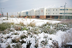 BLACKPOOL, ENGLAND - Sunday, December 26, 2010: Blackpool's Bloomfield Road stadium pictured as the Boxing Day Premiership clash with Liverpool FC is called off due to a frozen pitch. (Pic by: David Rawcliffe/Propaganda)