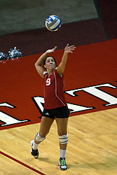"19 AUG 2006  The Huskies 4' 10"" Libero, Gina Guide, sets to serve. Northern Illinois Huskies got slammed by Illinois State Redbirds, losing the match 3 games to 1. Game action took place at Redbird Arena on the campus of Illinois State University in Normal Illinois."