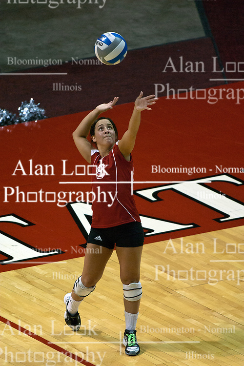"""19 AUG 2006  The Huskies 4' 10"""" Libero, Gina Guide, sets to serve. Northern Illinois Huskies got slammed by Illinois State Redbirds, losing the match 3 games to 1. Game action took place at Redbird Arena on the campus of Illinois State University in Normal Illinois."""