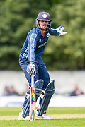 Scotland's Calum MacLeod signals for Craig Wallace to stay, on the way to making his century, during the One Day International match between Scotland and Afghanistan at The Grange Cricket Club, Edinburgh, Scotland on 10 May 2019.