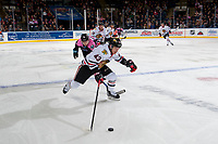 KELOWNA, CANADA - OCTOBER 21: Skyler McKenzie #43 of the Portland Winterhawks skates over the blue line with the puck during first period against the Kelowna Rockets on October 21, 2017 at Prospera Place in Kelowna, British Columbia, Canada.  (Photo by Marissa Baecker/Shoot the Breeze)  *** Local Caption ***