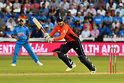 Alex Hales of England plays an attacking shot during the International T20 match between England and India at the SWALEC Stadium, Cardiff, United Kingdom on 6 July 2018. Picture by Graham Hunt.