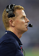 Dallas Cowboys head coach Jason Garrett looks on from the sideline during the NFL week 6 football game against the Washington Redskins on Sunday, Oct. 13, 2013 in Arlington, Texas. The Cowboys won the game 31-16. ©Paul Anthony Spinelli