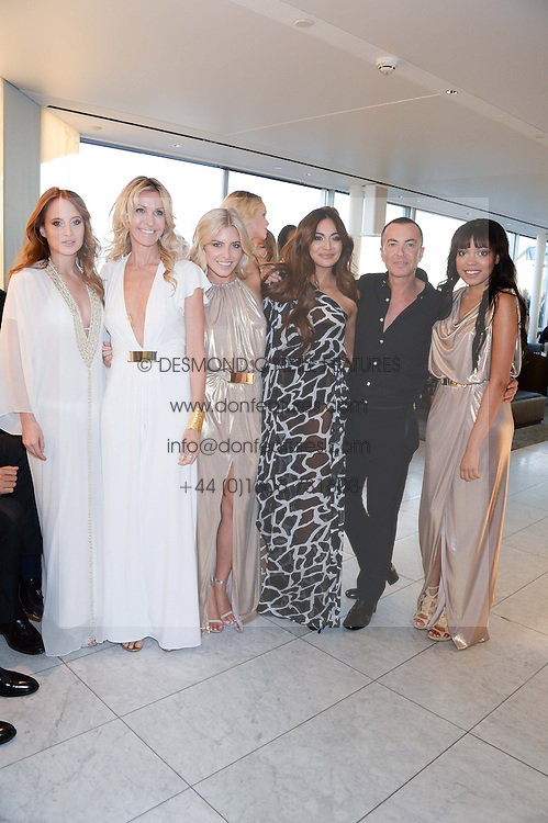 Left to right, ROSIE FORTESCUE, MELISSA ODABASH, MOLLIE KING, ZARA MARTIN, JULIEN MACDONALD and DIONNE BROMFIELD at the launch of the Odabash Macdonald Resort 2014 swimwear collection at ME Hotel, London on 25th June 2013.