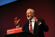 Liverpool, England. 26th September, 2018. <br /> Jeremy Corbyn MP, leader of the Labour Party delivers his leader's speech to conference, on the final session of the Labour Party annual conference at the ACC Conference Centre. photo: Kevin Hayes