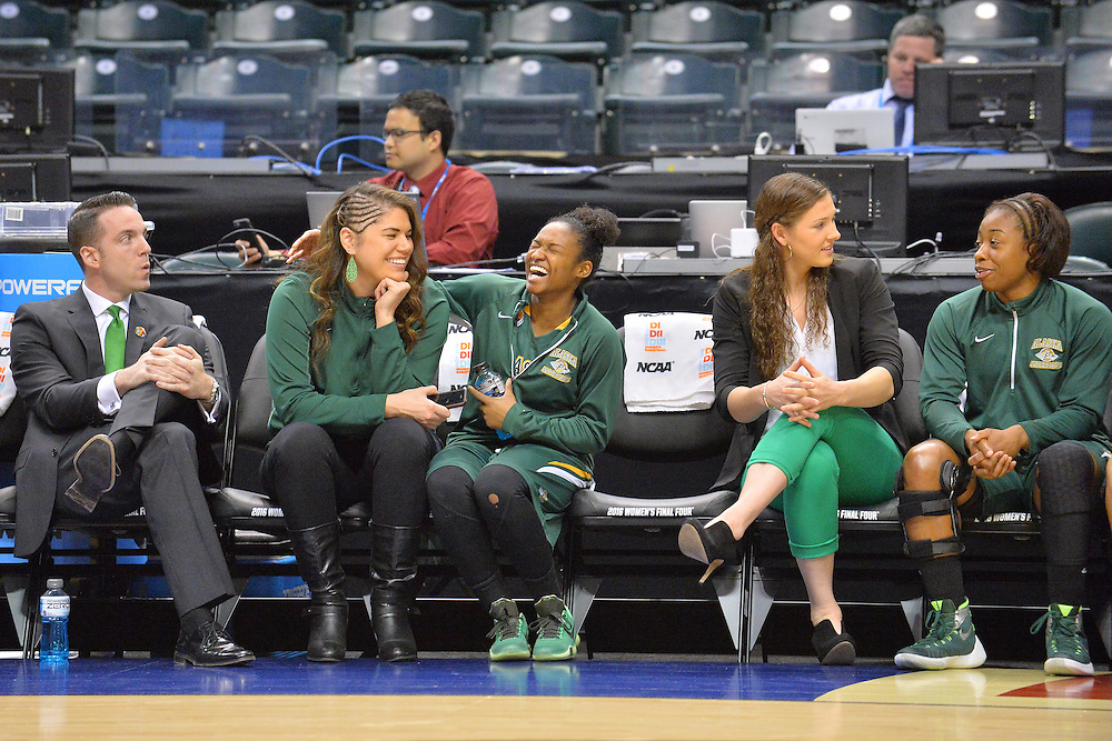 April 4, 2016; Indianapolis, Ind.; Assistant coach Shaina Afoa and Christina Davis share a laugh before the NCAA Division II Women's Basketball National Championship game at Bankers Life Fieldhouse between UAA and Lubbock Christian. The Seawolves lost to the Lady Chaps 78-73.