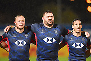 Hong Kong players sing their national anthems during the Rugby World Cup qualifier between Hong Kong and Canada at Stade Delort, Marseilles, France on 23 November 2018. Picture by Ian  Muir.