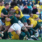 Australia protect the ball during the South Africa V Australia Quarter Final match at the IRB Rugby World Cup tournament. Wellington Regional Stadium, Wellington, New Zealand, 9th October 2011. Photo Tim Clayton...