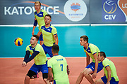 Katowice, Poland - 2017 September 03: (L) Partner Sergei Yampolskiy from SO Russia receives the ball while final match between SO Russia and SO Finland during European Unified Volleyball Tournament 2017 at Spodek Hall on September 03, 2017 in Katowice, Poland.<br /> <br /> Adam Nurkiewicz declares that he has no rights to the image of people at the photographs of his authorship.<br /> <br /> Picture also available in RAW (NEF) or TIFF format on special request.<br /> <br /> Any editorial, commercial or promotional use requires written permission from the author of image.<br /> <br /> Image can be used in the press when the method of use and the signature does not hurt people on the picture.<br /> <br /> Mandatory credit:<br /> Photo by &copy; Adam Nurkiewicz / Mediasport