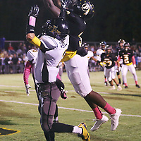 Lauren Wood | Buy at photos.djournal.com<br /> Pontotoc's Jerrick Ray pulls down a pass over Itawamba's Caleb Whittle during Friday night's game against Itawamba.