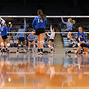 UNC celebrates scoring a point on Duke on November 26th, 2014 at Carmichael Arena in Chapel Hill, N.C. UNC won 3-2.