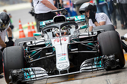 November 9, 2018 - Sao Paulo, Brazil - LEWIS HAMILTON, of Mercedes AMG Petronas, drives during the free practice session for the Formula One Grand Prix of Brazil at Interlagos circuit, in Sao Paulo, Brazil. The grand prix will be celebrated next Sunday, November 11. (Credit Image: © Paulo LopesZUMA Wire)