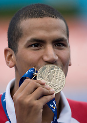 Winner Oussama Mellouli of Tunisia  at the victory ceremony after the Men's  1500m Freestyle Final during the 13th FINA World Championships Roma 2009, on August 2, 2009, at the Stadio del Nuoto,  in Foro Italico, Rome, Italy. (Photo by Vid Ponikvar / Sportida)