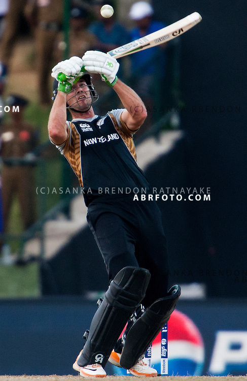 New Zealand batsmen plays a a lofted shot during the ICC world Twenty20 Cricket held in Sri Lanka.