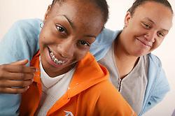 Portrait of two teenage girls,