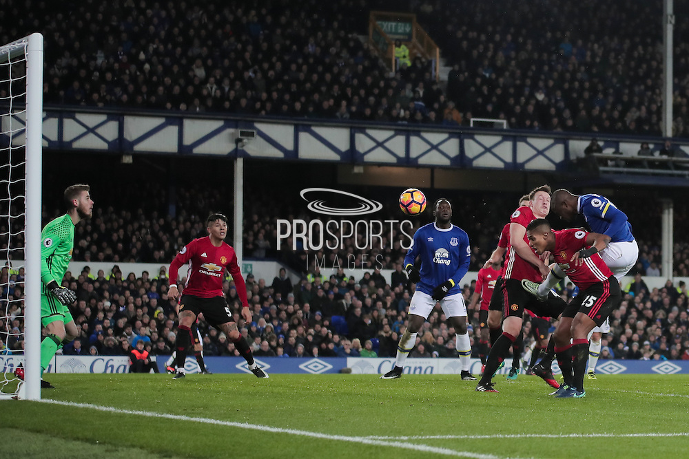 Everton's Enner Valencia jumps highest to get a header on target  during the Premier League match between Everton and Manchester United at Goodison Park, Liverpool, England on 4 December 2016. Photo by Simon Brady.