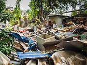 07 SEPTEMBER 2016 - BANGKOK, THAILAND: A demolished home in the Pom Mahakan Fort, one of 15 homes torn down by Bangkok officials over the weekend. Forty-four families still live in the Pom Mahakan Fort community. The city of Bangkok has given them provisional permission to stay, but city officials say the permission could be rescinded and the city go ahead with the evictions. The residents of the historic fort have barricaded most of the gates into the fort and are joined every day by community activists from around Bangkok who support their efforts to stay.      PHOTO BY JACK KURTZ