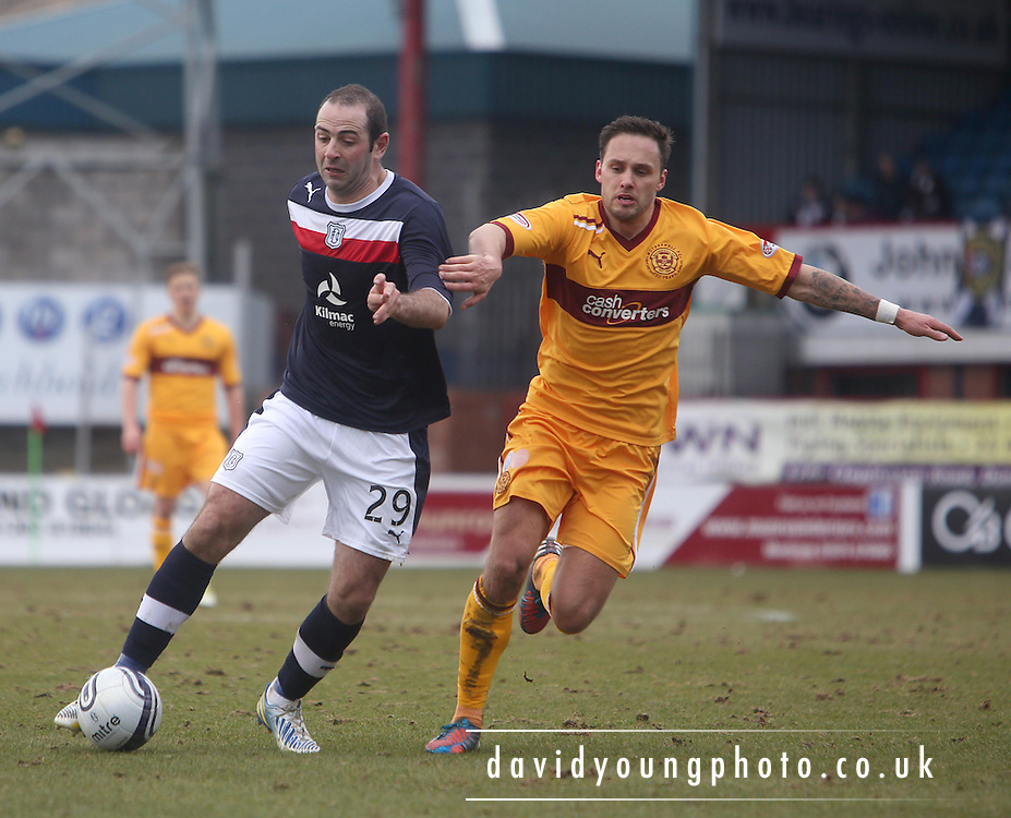 Gary Harkins  and Tom Hateley - Dundee v Motherwell in the Clydesdale Bank Scottish Premier League at Dens Park.. - © David Young - www.davidyoungphoto.co.uk - email: davidyoungphoto@gmail.com