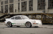 Automotive Photographer and Promotional Writer Randy Wells, Image of a white sports car coupe in California, 1972 Porsche 911 Carrera RSR Hot Rod, property released
