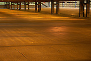 sunrise lighting in empty parking garage