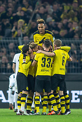 13.12.2015, Signal Iduna Park, Dortmund, GER, 1. FBL, Borussia Dortmund vs Eintracht Frankfurt, 16. Runde, im Bild Dortmund beim Torjubel nach dem Treffer zum 3:1 beim Fussball Bundesliga-Spiel zwischen Borussia Dortmund und Eintracht Frankfurt mit Pierre-Emerick Aubameyang (Borussia Dortmund #17) // during the German Bundesliga 16th round match between Borussia Dortmund and Eintracht Frankfurt at the Signal Iduna Park in Dortmund, Germany on 2015/12/13. EXPA Pictures © 2015, PhotoCredit: EXPA/ Eibner-Pressefoto/ Schueler<br /> <br /> *****ATTENTION - OUT of GER*****