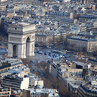Europe, France Paris. Arc de Triomphe, view from the Eiffel Tower.