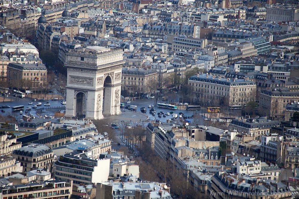 Europe, France Paris. Arc de Triomphe, view from the Eiffel Tower.