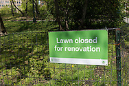 Signage in Central Park: Lawn closed for renovation.