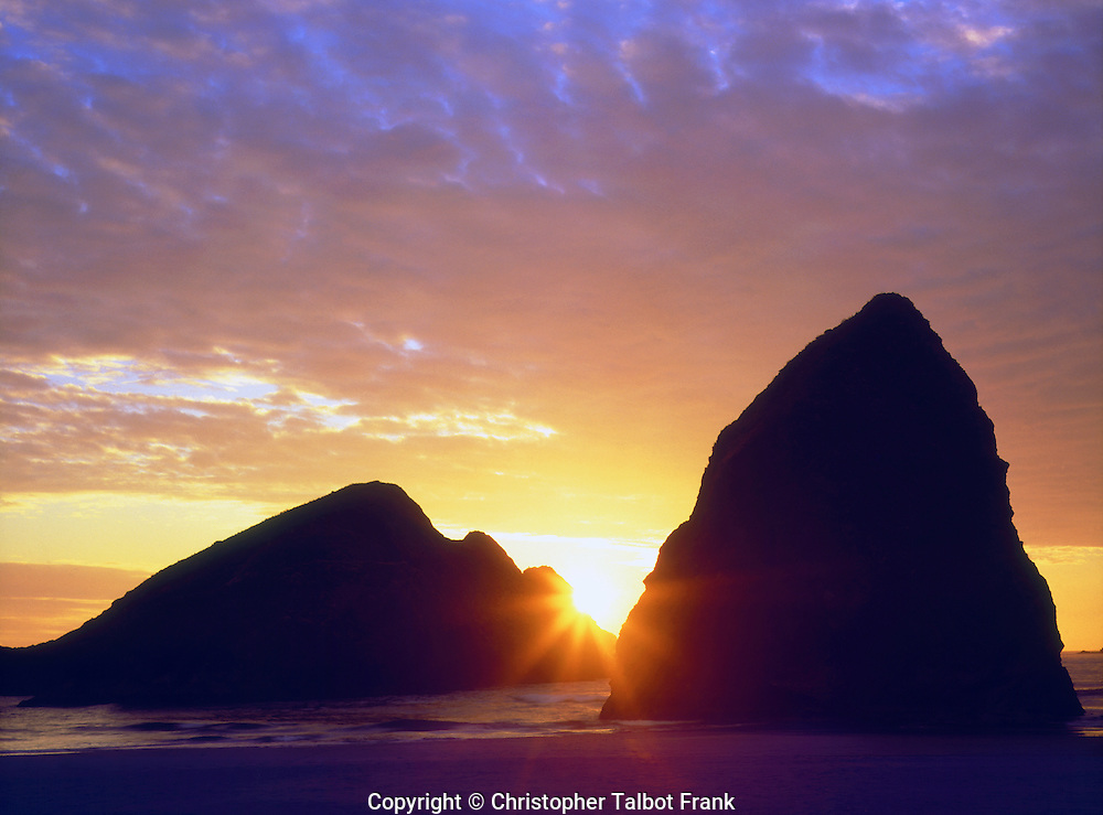 USA; Oregon.; Sunset over Gold Beach on the Oregon Coast