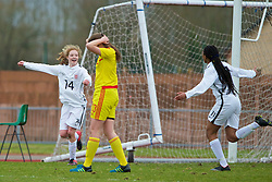 NEWPORT, WALES - Friday, April 1, 2016: England's Sophie Quirk celebrates scoring the second goal against Wales during Day 1 of the Bob Docherty International Tournament 2016 at Dragon Park. (Pic by David Rawcliffe/Propaganda)
