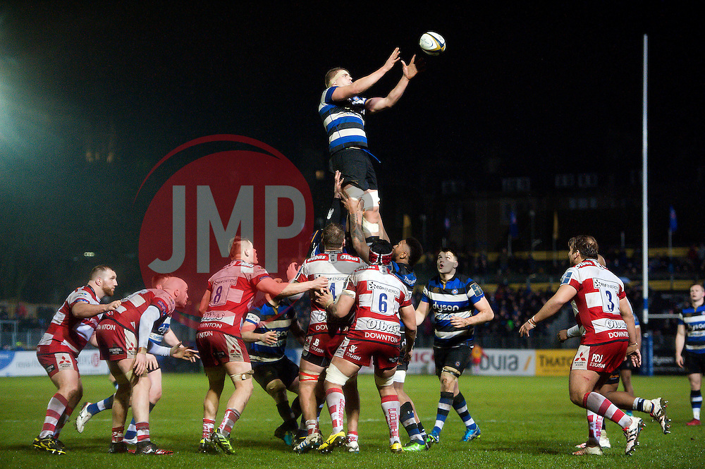 Tom Ellis of Bath Rugby rises high to win lineout ball - Mandatory byline: Patrick Khachfe/JMP - 07966 386802 - 27/01/2017 - RUGBY UNION - The Recreation Ground - Bath, England - Bath Rugby v Gloucester Rugby - Anglo-Welsh Cup.