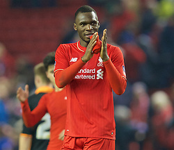 LIVERPOOL, ENGLAND - Wednesday, January 20, 2016: Liverpool's Christian Benteke applauds the the supporter after the 3-0 victory over Exeter City during the FA Cup 3rd Round Replay match at Anfield. (Pic by David Rawcliffe/Propaganda)