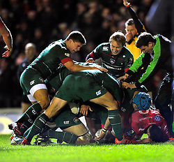 Leicester Tigers players celebrate Brad Thorn's try - Photo mandatory by-line: Patrick Khachfe/JMP - Mobile: 07966 386802 07/12/2014 - SPORT - RUGBY UNION - Leicester - Welford Road - Leicester Tigers v Toulon - European Rugby Champions Cup