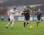 Dundee&rsquo;s Gary Harkins takes on Dumbarton&rsquo;s Steven Saunders - Dumbarton v Dundee, William Hill Scottish Cup fifth round at The Cheaper Insurance Direct Stadium <br /> <br />  - &copy; David Young - www.davidyoungphoto.co.uk - email: davidyoungphoto@gmail.com