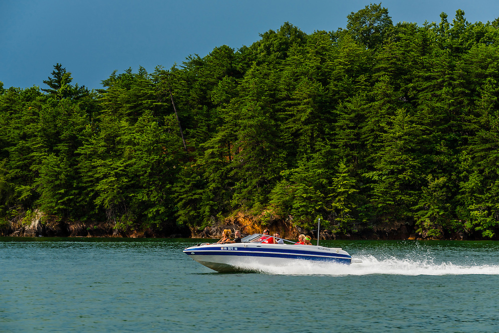 A power boat on Smith Mountain Lake, near Roanoke, Virginia USA.