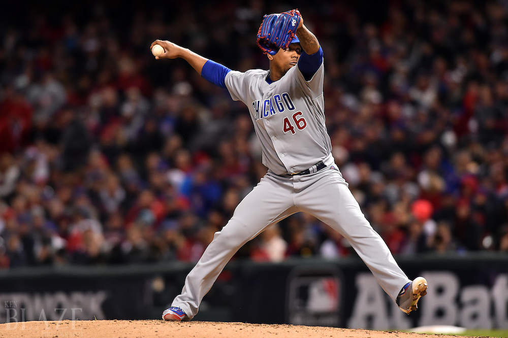 Oct 25, 2016; Cleveland, OH, USA; Chicago Cubs relief pitcher Pedro Strop throws a pitch against the Cleveland Indians in the 6th inning in game one of the 2016 World Series at Progressive Field. Mandatory Credit: Ken Blaze-USA TODAY Sports
