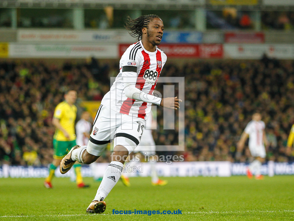 Romaine Sawyers of Brentford during the Sky Bet Championship match between Norwich City and Brentford at Carrow Road, Norwich<br /> Picture by Mark D Fuller/Focus Images Ltd +44 7774 216216<br /> 03/12/2016
