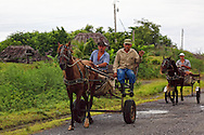 Men on horse carts in Las Tres Palmas, Pinar del Rio, Cuba.
