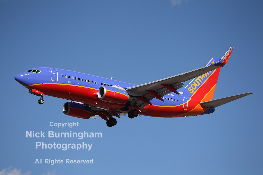 LOS ANGELES, CALIFORNIA, USA - JANUARY 28, 2013 - Southwest Airlines Boeing 737-7BX lands at Los Angeles Airport on January 28, 2013. The plane seats 126 passengers with a range of 10,200 km