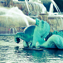 Buckingham Fountain Chicago. High resolution photo of seahorse spraying water.