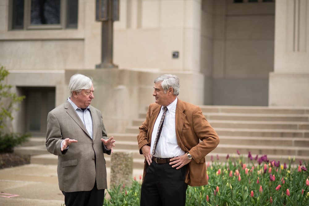 Robert Gordon, left, and Joel Mokyr converse Tuesday, April 29, 2014, on the campus of Northwestern University in Evanston, ILL.<br /> CREDIT: Rob Hart for The Wall Street Journal<br /> SLUG: GROWTH