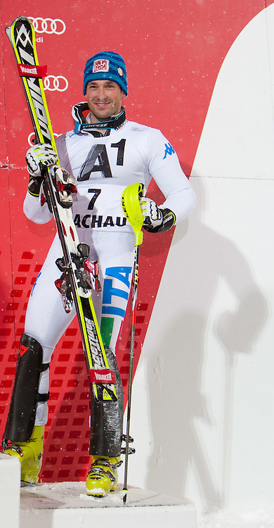 21.12.2011, Hermann Maier Weltcup Strecke, Flachau, AUT, FIS Weltcup Ski Alpin, Herren, Slalom Podium, im Bild Cristian Deville (ITA, Rang 3) // dirt place Cristian Deville of Italy on Podium Slalom of FIS Ski Alpine World Cup at Hermann Maier Pist in Flachau, Austria on 2011/12/21. EXPA Pictures © 2011, PhotoCredit: EXPA/ Johann Groder