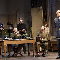 The Lyceum present the World Premiere of Pressure<br /> By David Haig<br /> <br /> Picture shows :(l-r)<br /> Michael Mackenzie, Malcolm Sinclair, Scott Gilmour, Anthony Bowers, Laura Rogers and David Haig <br /> Malcolm Sinclair &ndash; General Dwight D &ldquo;Ike&rdquo; Eisenhower ( at table)<br />  David Haig &ndash; Group Captain Dr. James Stagg (far right)<br /> <br /> <br /> Picture : Drew Farrell<br /> Tel : 07721 -735041<br /> www.drewfarrell.com<br /> 