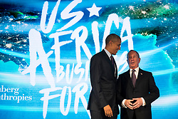 NEW YORK, NEW YORK - SEPTEMBER 21: (L to R) U.S. President Barack Obama talks with former New York City mayor Michael Bloomberg before speaking at the U.S.-Africa Business Forum at the Plaza Hotel, September 21, 2016 in New York City. The forum is focused on trade and investment opportunities on the African continent for African heads of government and American business leaders.<br /> Photo by Drew Angerer/Pool/ABACAPRESS.COM