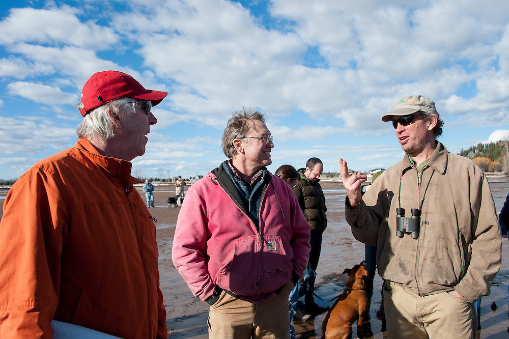 (L-R) Lee Proctor, Drew Hubatsek, and Dave Hadden at the Stop the Bridge public rally and demonstration on the north shore of Flathead Lake organized by CANSC (Community Association for North Shore Conservation).