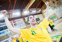 Anze Rebic of RD Loka celebrates after the handball match between RD Loka and RK Slovenj Gradec in 21st Round of 1B DRL  league 2013/14 on May 10, 2014, in Sportna dvorana Poden, Skofja Loka, Slovenia. Photo by Vid Ponikvar / Sportida